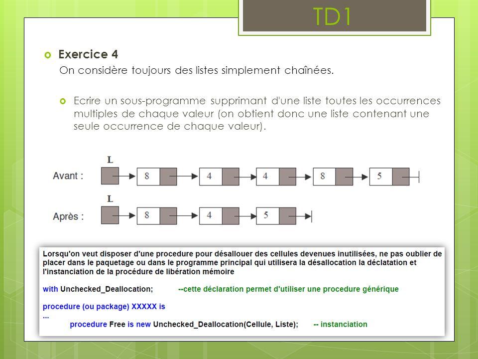 TD1  Exercice 4 On considère toujours des listes simplement chaînées.  Ecrire un sous-programme supprimant d'une liste toutes les occurrences multip