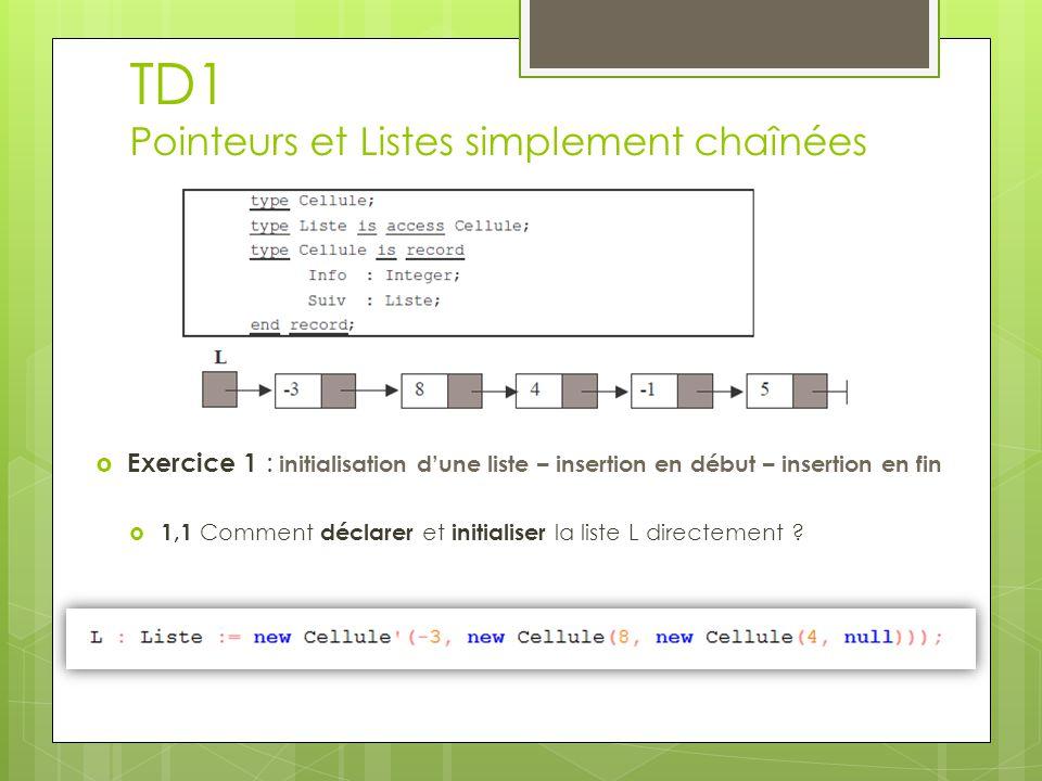 TD1  Exercice 1 : initialisation d'une liste – insertion en début – insertion en fin  1,2 Ecrire une version itérative et une version récursive permettant d'afficher une liste.