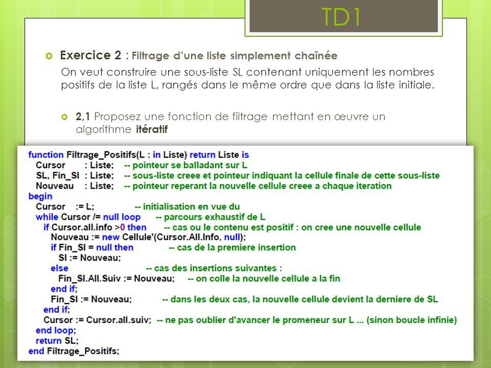 TD1  Exercice 2 : Filtrage d'une liste simplement chaînée On veut construire une sous-liste SL contenant uniquement les nombres positifs de la liste
