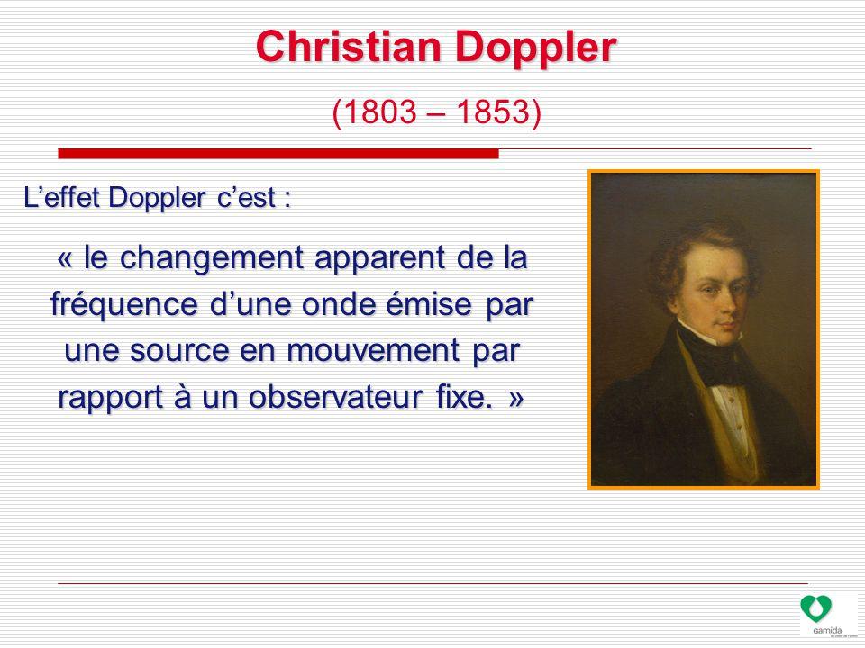 Christian Doppler (1803 – 1853) L'effet Doppler c'est : « le changement apparent de la fréquence d'une onde émise par une source en mouvement par rapport à un observateur fixe.