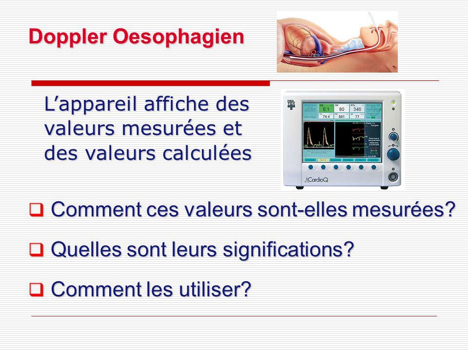 L'appareil affiche des valeurs mesurées et des valeurs calculées  Comment ces valeurs sont-elles mesurées.