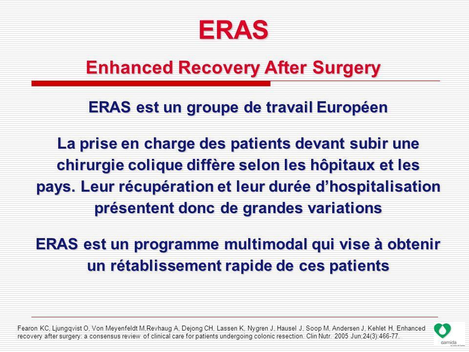 ERAS est un groupe de travail Européen La prise en charge des patients devant subir une chirurgie colique diffère selon les hôpitaux et les pays.