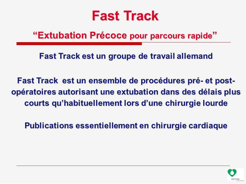 Fast Track est un groupe de travail allemand Fast Track est un ensemble de procédures pré- et post- opératoires autorisant une extubation dans des délais plus courts qu'habituellement lors d'une chirurgie lourde Publications essentiellement en chirurgie cardiaque Fast Track Extubation Précoce pour parcours rapide