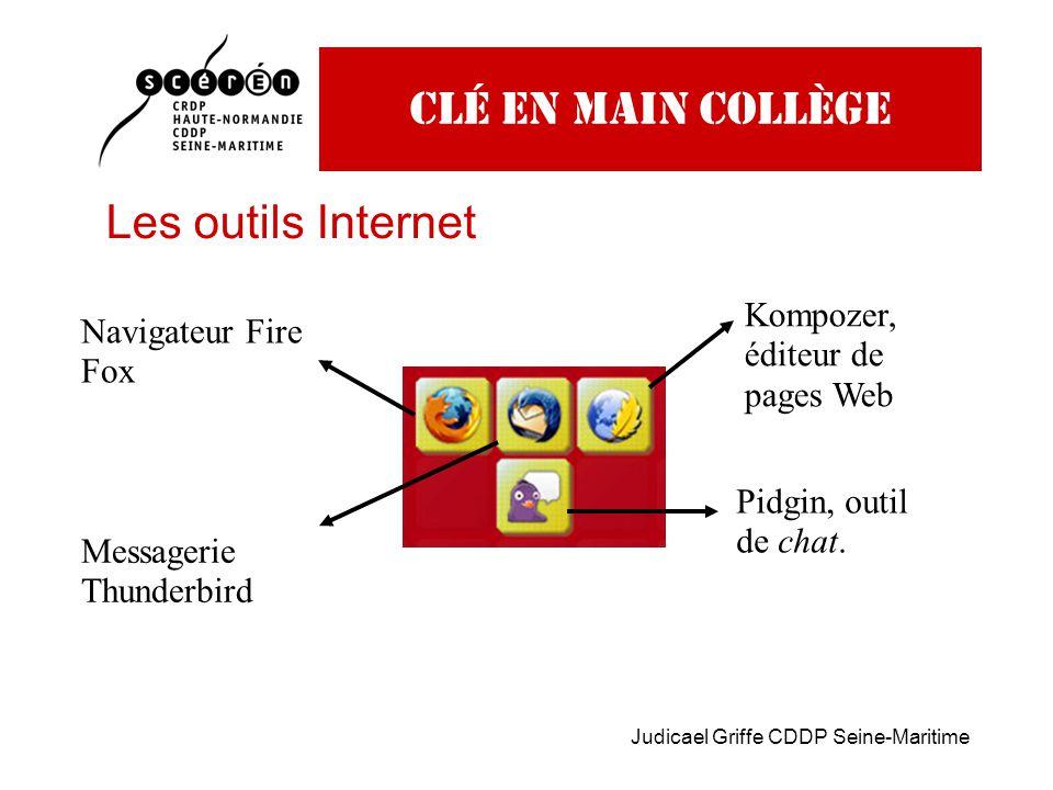 Judicael Griffe CDDP Seine-Maritime Clé en main collège Les outils Internet Navigateur Fire Fox Messagerie Thunderbird Kompozer, éditeur de pages Web Pidgin, outil de chat.