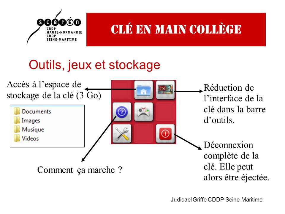 Judicael Griffe CDDP Seine-Maritime Clé en main collège Outils, jeux et stockage Réduction de l'interface de la clé dans la barre d'outils.