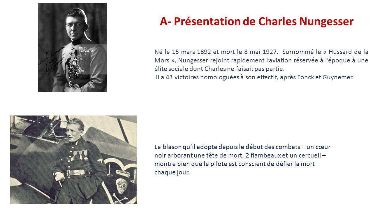 SOMMAIRE A- Présentation de Charles Nungesser B - Son rôle en début de guerre : 1914 C - Le passage de Nungesser dans l'aviation de chasse D - Le Nieu