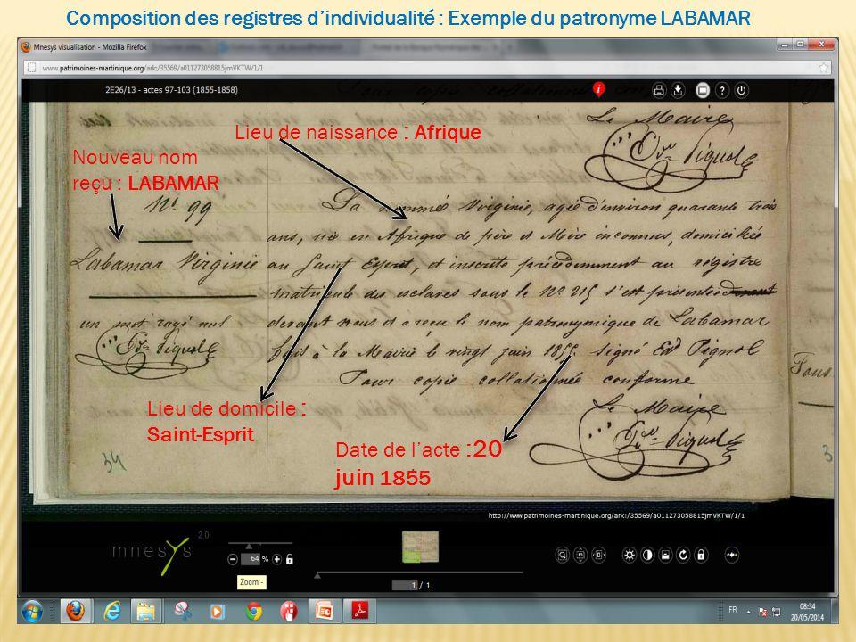 Lieu de naissance : Afrique Lieu de domicile : Saint-Esprit Date de l'acte :20 juin 1855 Nouveau nom reçu : LABAMAR Composition des registres d'indivi