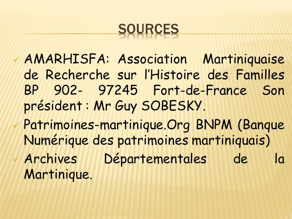 AMARHISFA: Association Martiniquaise de Recherche sur l'Histoire des Familles BP 902- 97245 Fort-de-France Son président : Mr Guy SOBESKY. Patrimoines