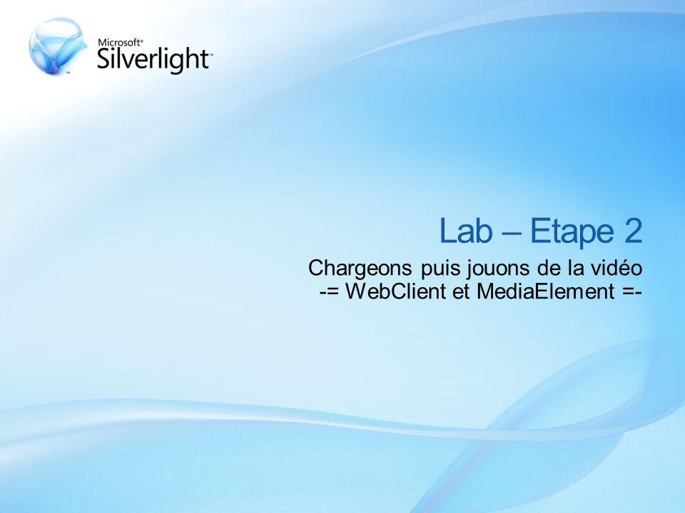 Lab – Etape 2 Chargeons puis jouons de la vidéo -= WebClient et MediaElement =-