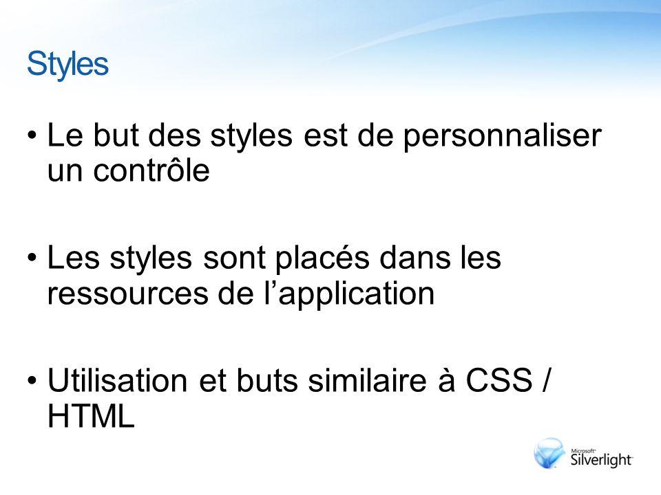 Styles Le but des styles est de personnaliser un contrôle Les styles sont placés dans les ressources de l'application Utilisation et buts similaire à CSS / HTML