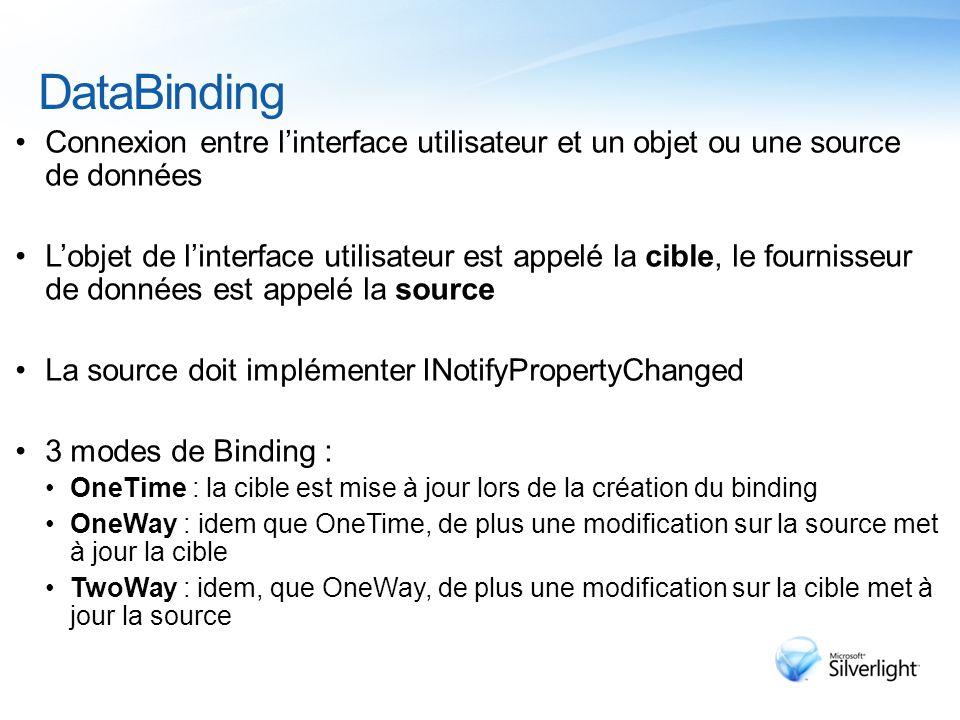 DataBinding Connexion entre l'interface utilisateur et un objet ou une source de données L'objet de l'interface utilisateur est appelé la cible, le fournisseur de données est appelé la source La source doit implémenter INotifyPropertyChanged 3 modes de Binding : OneTime : la cible est mise à jour lors de la création du binding OneWay : idem que OneTime, de plus une modification sur la source met à jour la cible TwoWay : idem, que OneWay, de plus une modification sur la cible met à jour la source