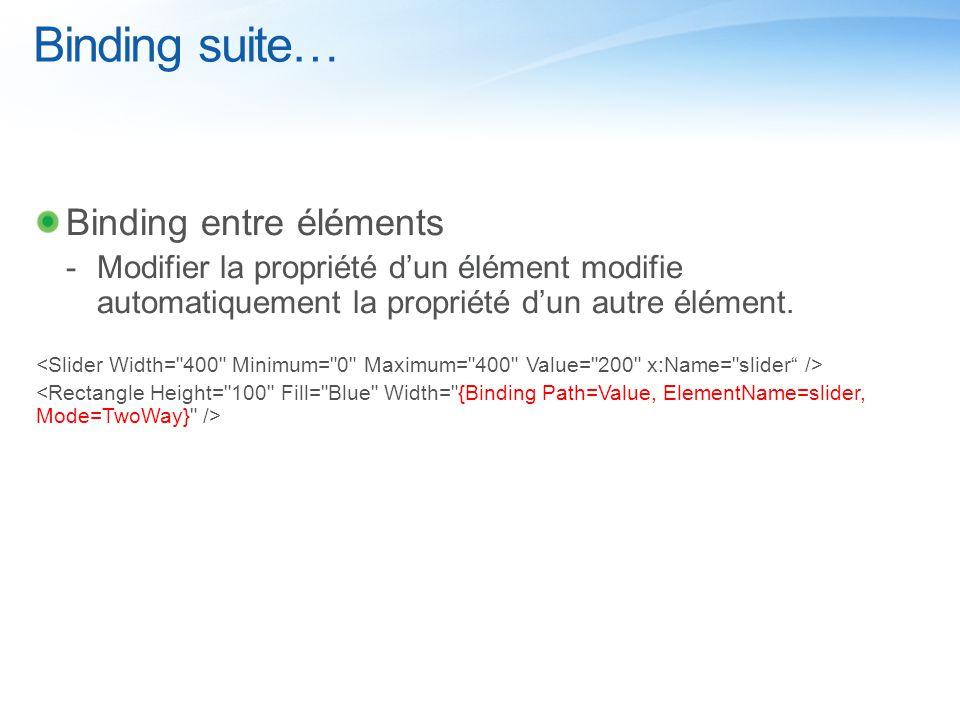 Binding suite… Binding entre éléments  Modifier la propriété d'un élément modifie automatiquement la propriété d'un autre élément.