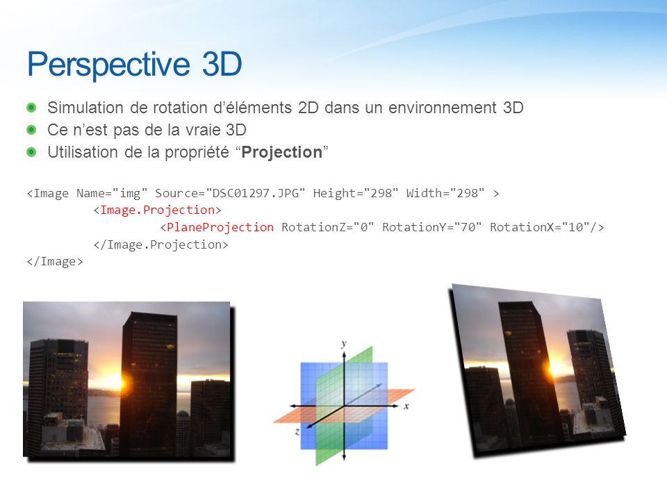 Perspective 3D Simulation de rotation d'éléments 2D dans un environnement 3D Ce n'est pas de la vraie 3D Utilisation de la propriété Projection