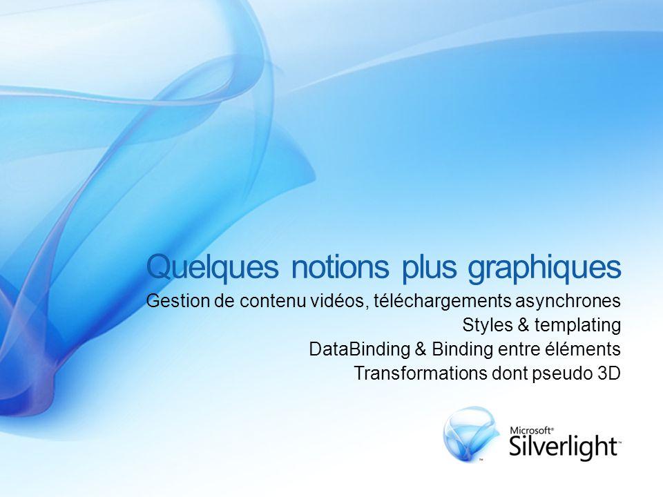 Quelques notions plus graphiques Gestion de contenu vidéos, téléchargements asynchrones Styles & templating DataBinding & Binding entre éléments Transformations dont pseudo 3D
