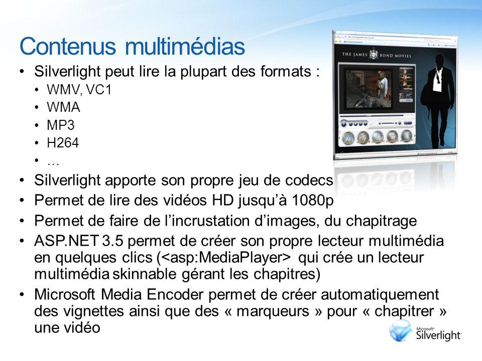 Contenus multimédias Silverlight peut lire la plupart des formats : WMV, VC1 WMA MP3 H264 … Silverlight apporte son propre jeu de codecs Permet de lire des vidéos HD jusqu'à 1080p Permet de faire de l'incrustation d'images, du chapitrage ASP.NET 3.5 permet de créer son propre lecteur multimédia en quelques clics ( qui crée un lecteur multimédia skinnable gérant les chapitres) Microsoft Media Encoder permet de créer automatiquement des vignettes ainsi que des « marqueurs » pour « chapitrer » une vidéo