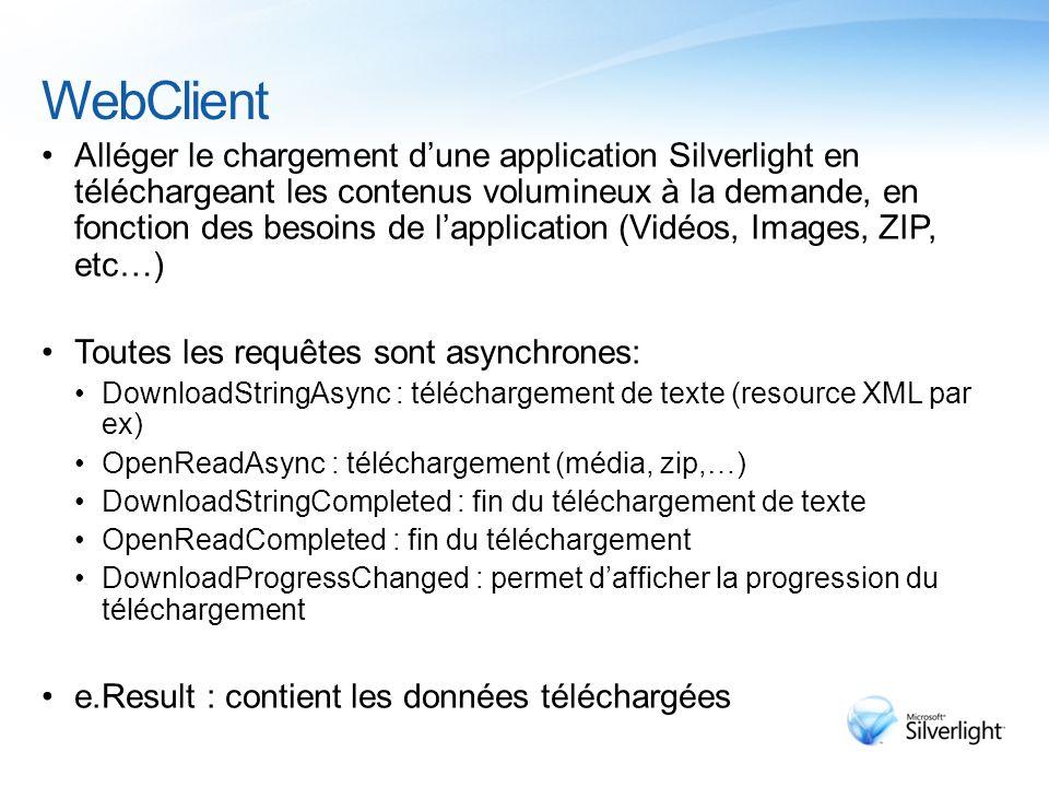 WebClient Alléger le chargement d'une application Silverlight en téléchargeant les contenus volumineux à la demande, en fonction des besoins de l'application (Vidéos, Images, ZIP, etc…) Toutes les requêtes sont asynchrones: DownloadStringAsync : téléchargement de texte (resource XML par ex) OpenReadAsync : téléchargement (média, zip,…) DownloadStringCompleted : fin du téléchargement de texte OpenReadCompleted : fin du téléchargement DownloadProgressChanged : permet d'afficher la progression du téléchargement e.Result : contient les données téléchargées