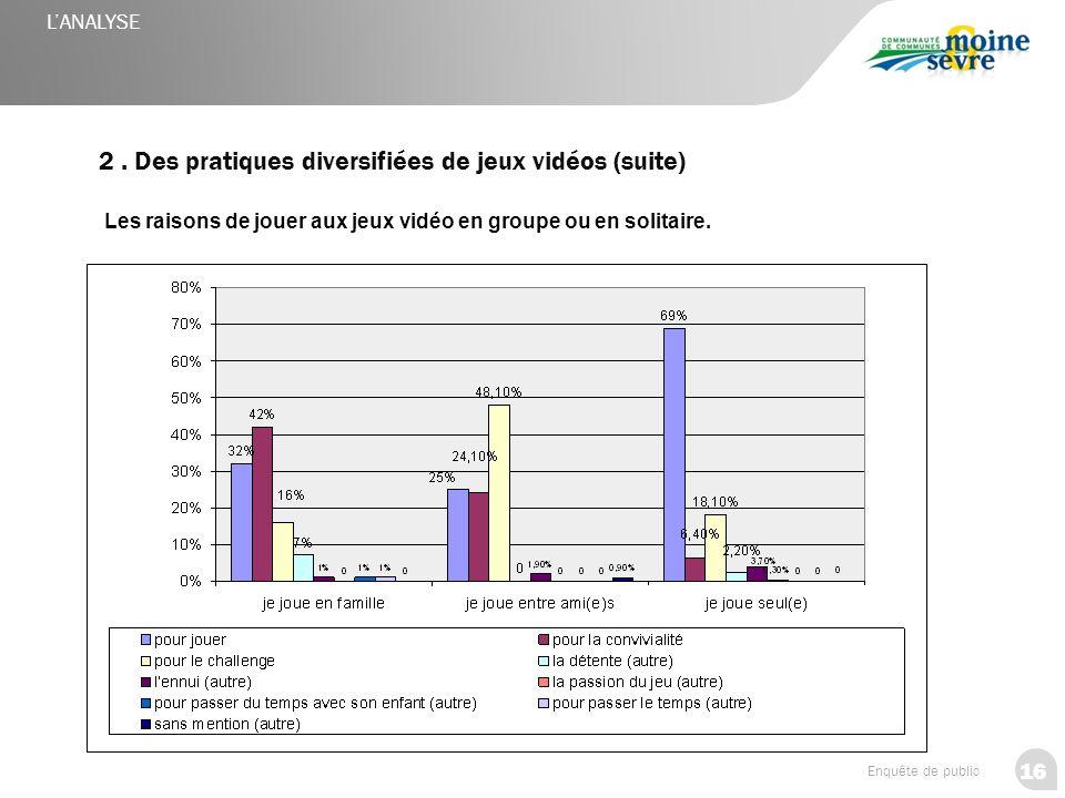 16 Enquête de public 2. Des pratiques diversifiées de jeux vidéos (suite) Les raisons de jouer aux jeux vidéo en groupe ou en solitaire. L'ANALYSE