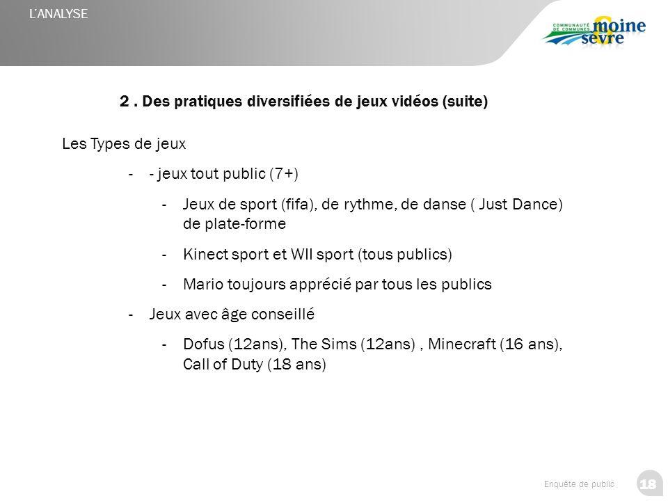 18 Enquête de public 2. Des pratiques diversifiées de jeux vidéos (suite) L'ANALYSE Les Types de jeux -- jeux tout public (7+) -Jeux de sport (fifa),
