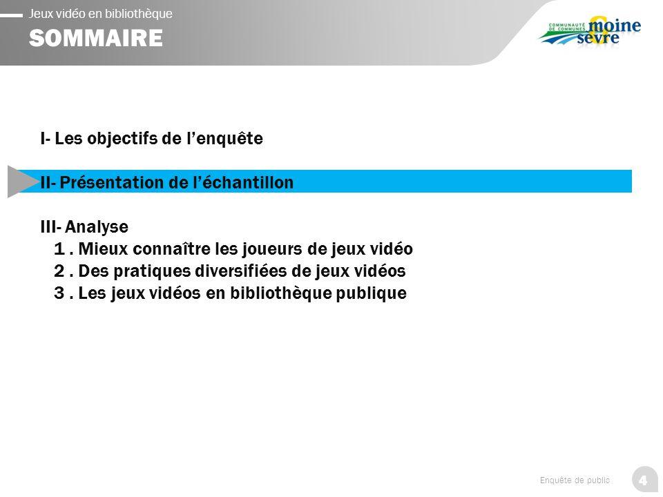 4 Enquête de public Jeux vidéo en bibliothèque SOMMAIRE I- Les objectifs de l'enquête II- Présentation de l'échantillon III- Analyse 1.