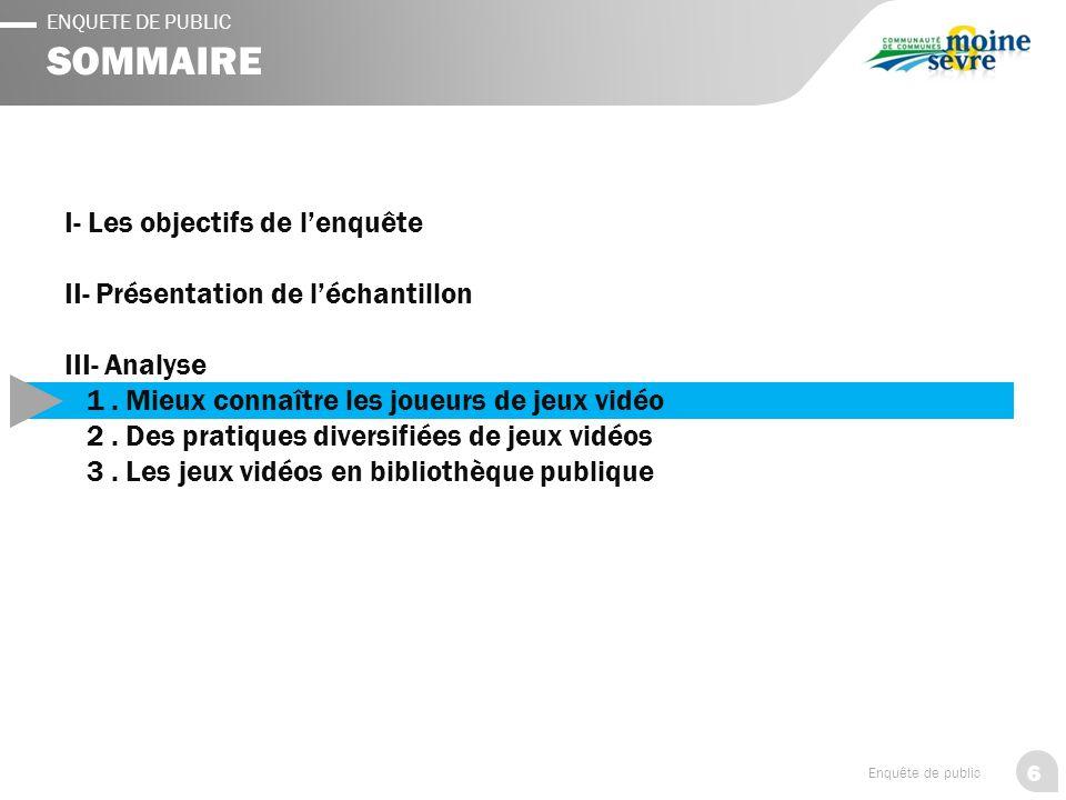 6 Enquête de public ENQUETE DE PUBLIC SOMMAIRE I- Les objectifs de l'enquête II- Présentation de l'échantillon III- Analyse 1.