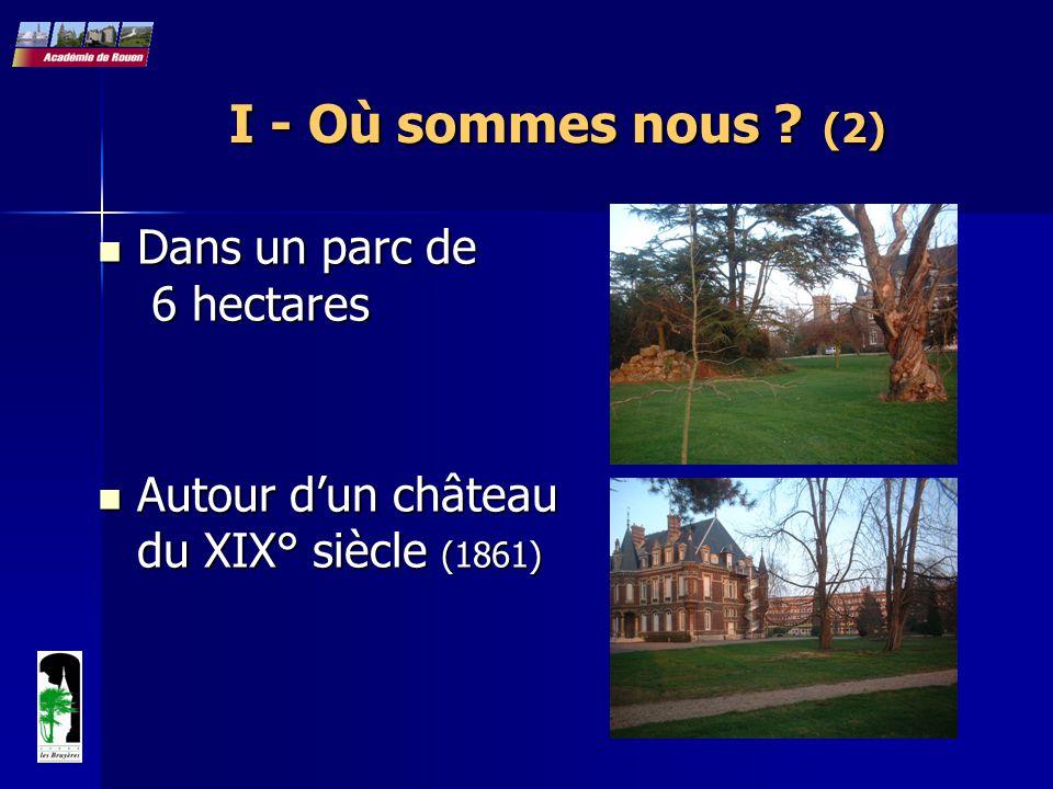 I - Où sommes nous ? (2) Dans un parc de 6 hectares Dans un parc de 6 hectares Autour d'un château du XIX° siècle (1861) Autour d'un château du XIX° s