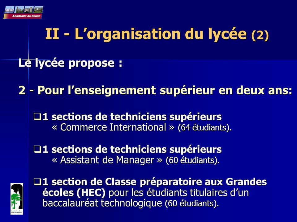 II - L'organisation du lycée (2) Le lycée propose : 2 - Pour l'enseignement supérieur en deux ans: 2 - Pour l'enseignement supérieur en deux ans:  1