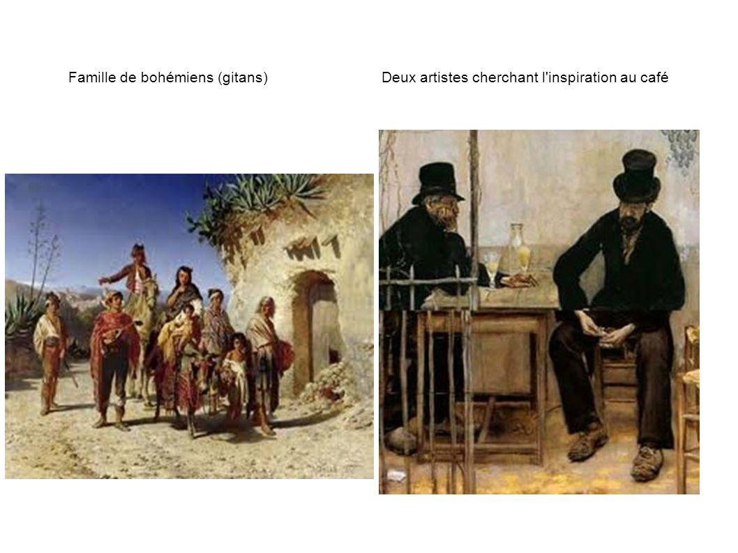 Famille de bohémiens (gitans) Deux artistes cherchant l'inspiration au café