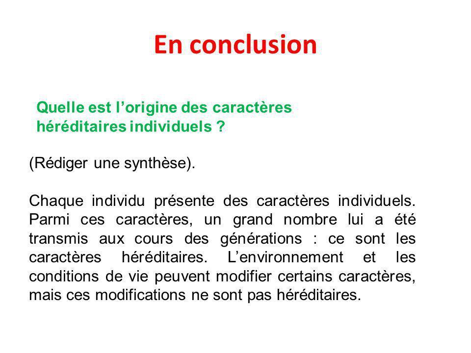 En conclusion (Rédiger une synthèse).Chaque individu présente des caractères individuels.