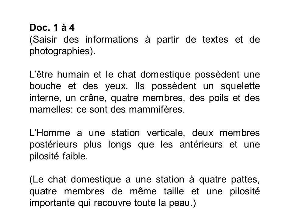 Doc.1 à 4 (Saisir des informations à partir de textes et de photographies).