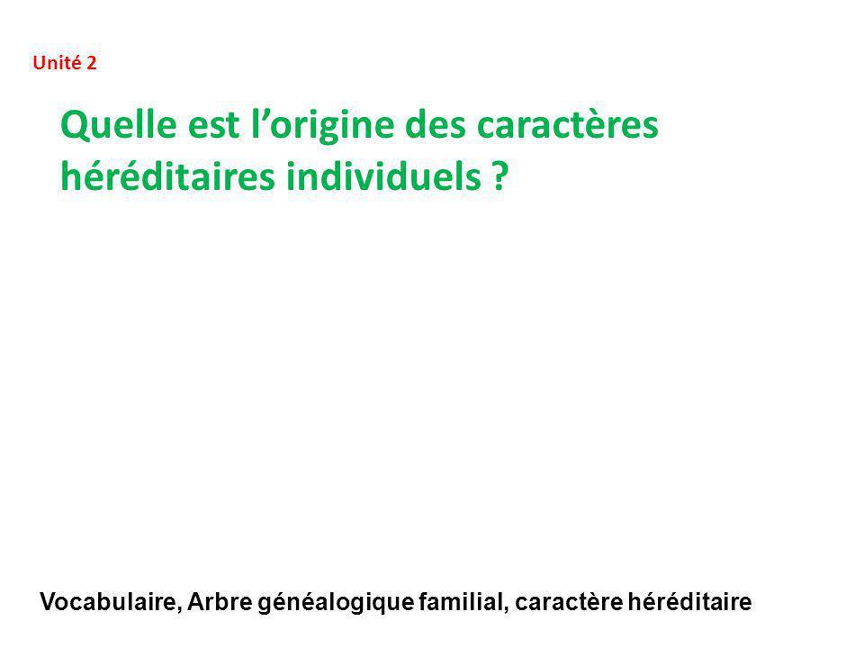 Quelle est l'origine des caractères héréditaires individuels .