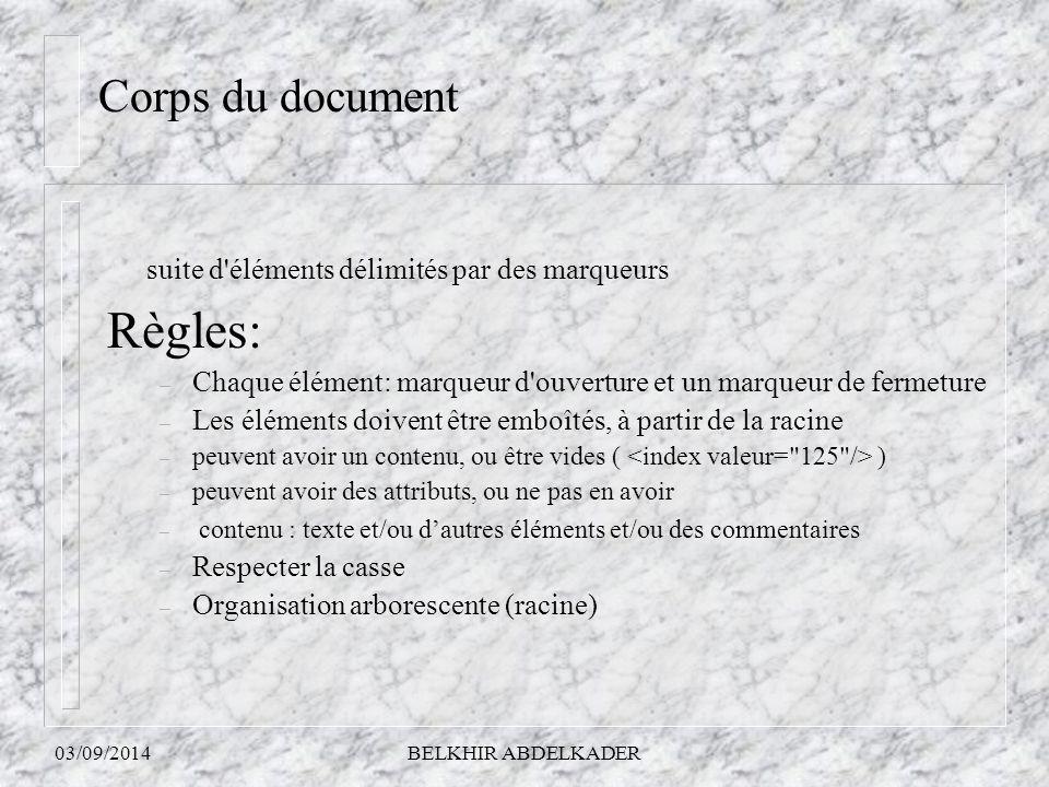03/09/2014BELKHIR ABDELKADER suite d'éléments délimités par des marqueurs Règles: – Chaque élément: marqueur d'ouverture et un marqueur de fermeture –