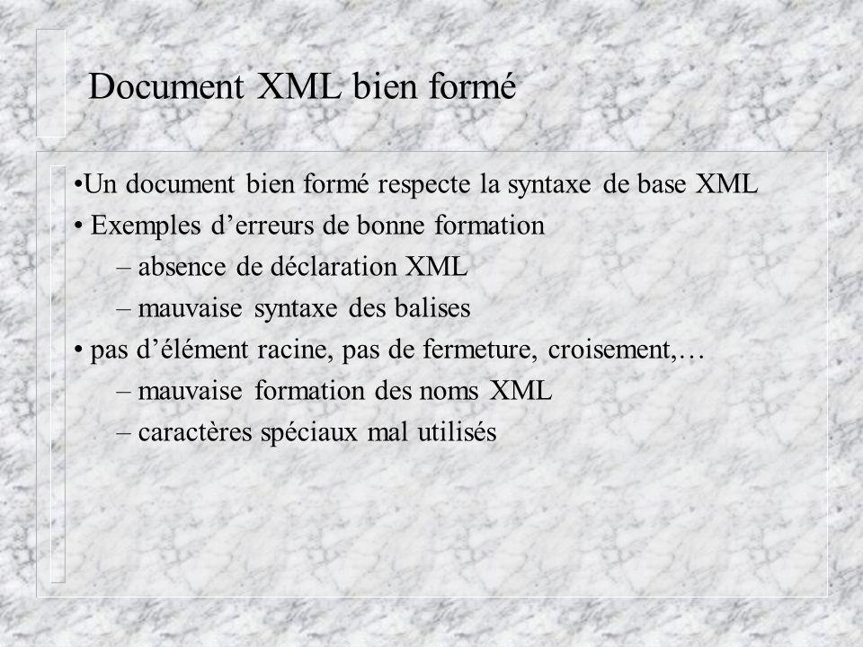 Document XML bien formé Un document bien formé respecte la syntaxe de base XML Exemples d'erreurs de bonne formation – absence de déclaration XML – ma