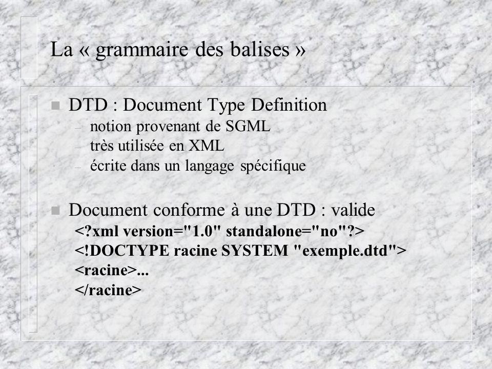 La « grammaire des balises » n DTD : Document Type Definition – notion provenant de SGML – très utilisée en XML – écrite dans un langage spécifique n