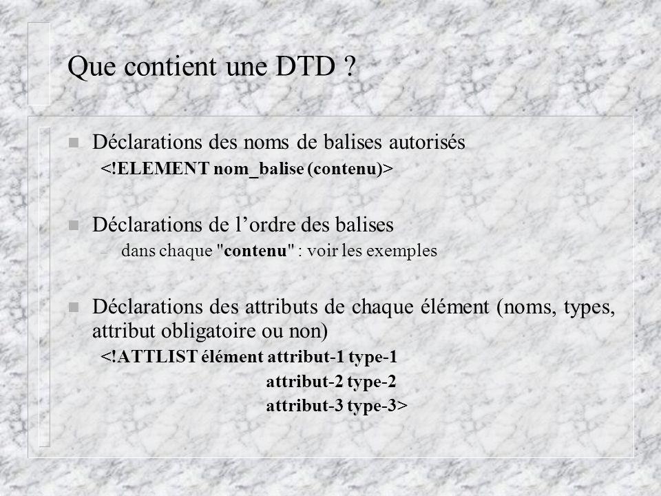 Que contient une DTD ? n Déclarations des noms de balises autorisés n Déclarations de l'ordre des balises – dans chaque