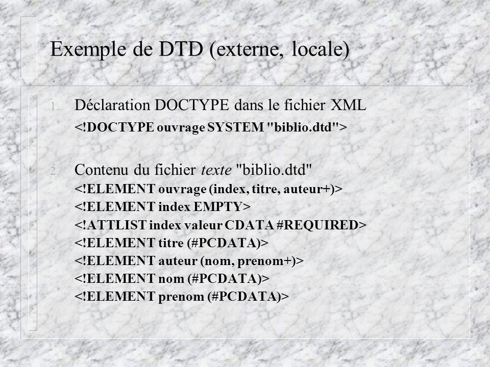 Exemple de DTD (externe, locale) 1. Déclaration DOCTYPE dans le fichier XML 2. Contenu du fichier texte