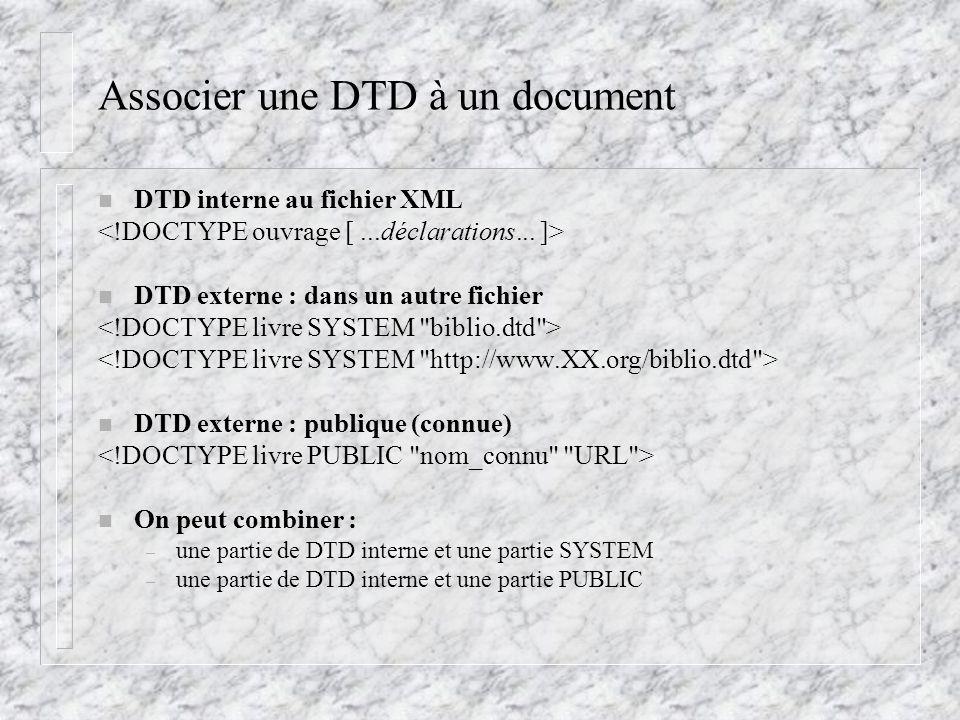 Associer une DTD à un document n DTD interne au fichier XML n DTD externe : dans un autre fichier n DTD externe : publique (connue) n On peut combiner