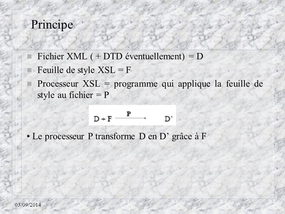03/09/2014 n Fichier XML ( + DTD éventuellement) = D n Feuille de style XSL = F n Processeur XSL = programme qui applique la feuille de style au fichi