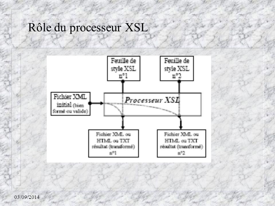 03/09/2014 Rôle du processeur XSL