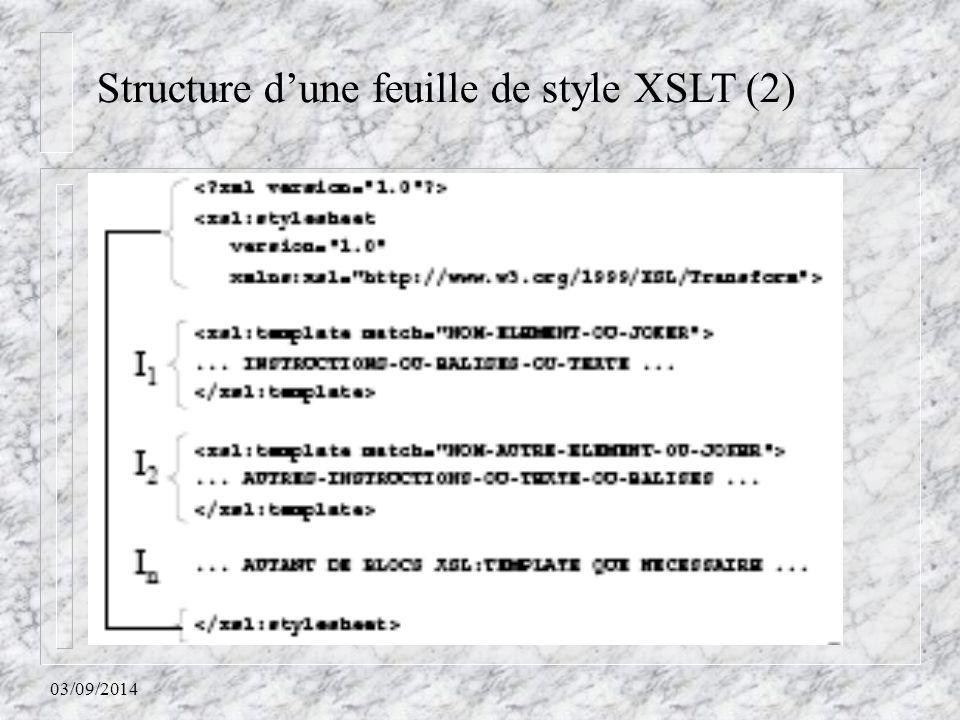 03/09/2014 Structure d'une feuille de style XSLT (2)