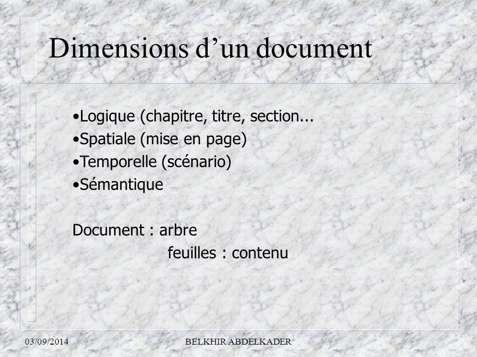 03/09/2014BELKHIR ABDELKADER Dimensions d'un document Logique (chapitre, titre, section... Spatiale (mise en page) Temporelle (scénario) Sémantique Do