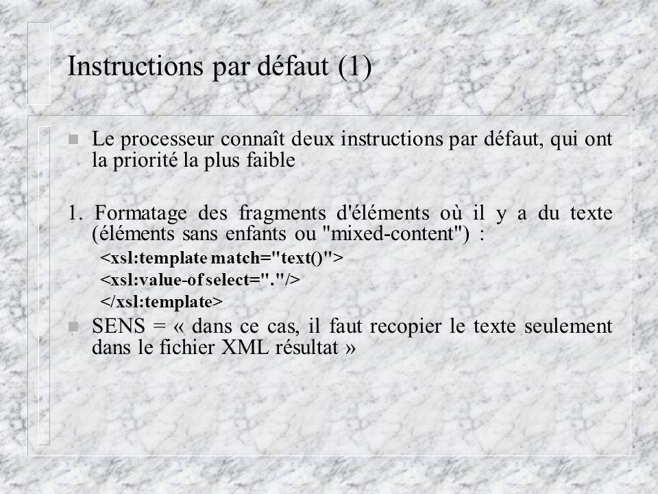 Instructions par défaut (1) n Le processeur connaît deux instructions par défaut, qui ont la priorité la plus faible 1. Formatage des fragments d'élém