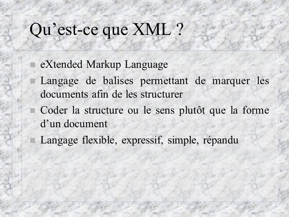 Qu'est-ce que XML ? n eXtended Markup Language n Langage de balises permettant de marquer les documents afin de les structurer n Coder la structure ou