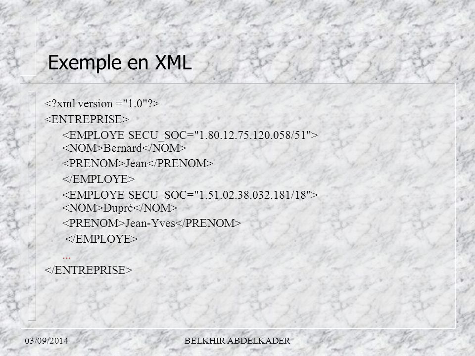 03/09/2014BELKHIR ABDELKADER Bernard Jean Dupré Jean-Yves... Exemple en XML