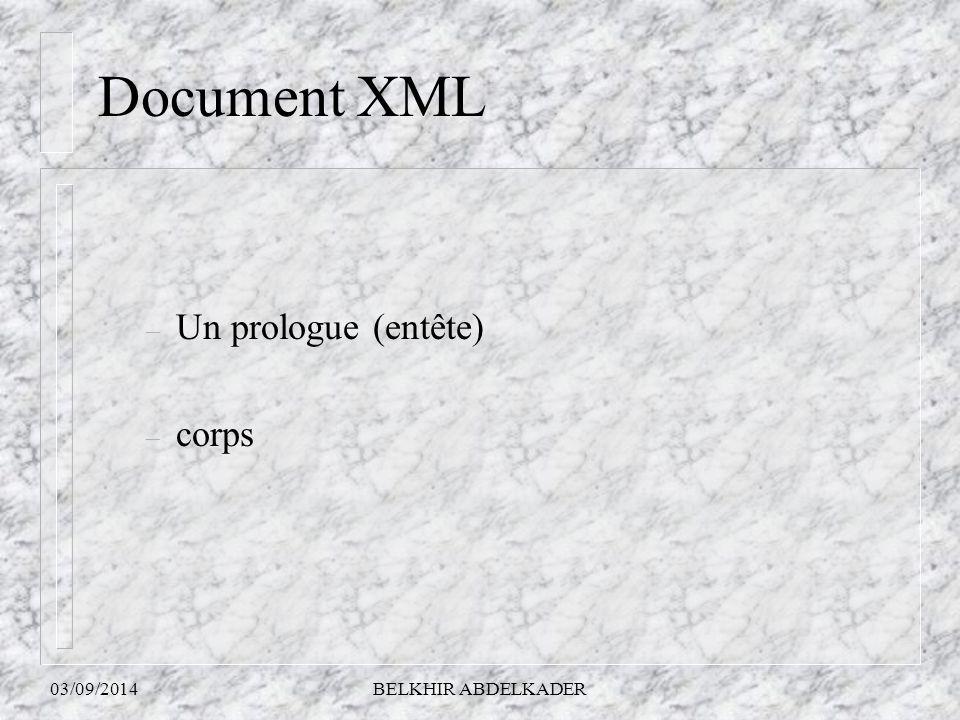 03/09/2014BELKHIR ABDELKADER Document XML – Un prologue (entête) – corps