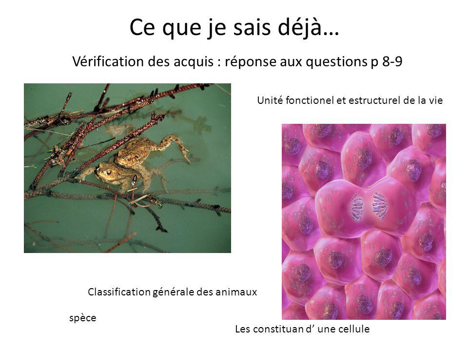 Ce que je sais déjà… Vérification des acquis : réponse aux questions p 8-9 spèce Classification générale des animaux Les constituan d' une cellule Unité fonctionel et estructurel de la vie