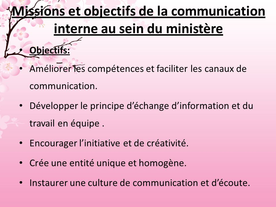 Missions et objectifs de la communication interne au sein du ministère Objectifs: Améliorer les compétences et faciliter les canaux de communication.