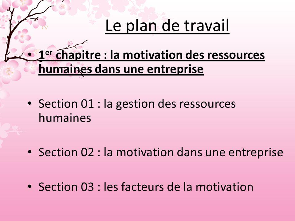 Le plan de travail 1 er chapitre : la motivation des ressources humaines dans une entreprise Section 01 : la gestion des ressources humaines Section 02 : la motivation dans une entreprise Section 03 : les facteurs de la motivation
