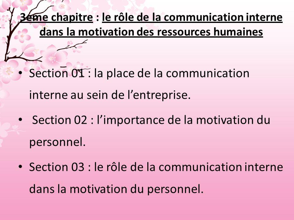 3eme chapitre : le rôle de la communication interne dans la motivation des ressources humaines Section 01 : la place de la communication interne au sein de l'entreprise.