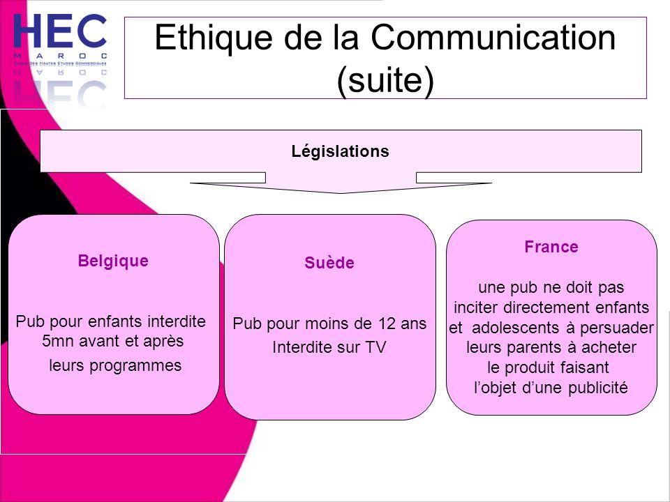 Belgique Pub pour enfants interdite 5mn avant et après leurs programmes Ethique de la Communication (suite) Législations Suède Pub pour moins de 12 an