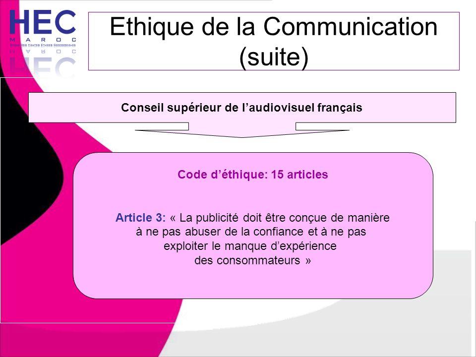 Ethique de la Communication (suite) Conseil supérieur de l'audiovisuel français Code d'éthique: 15 articles Article 3: « La publicité doit être conçue